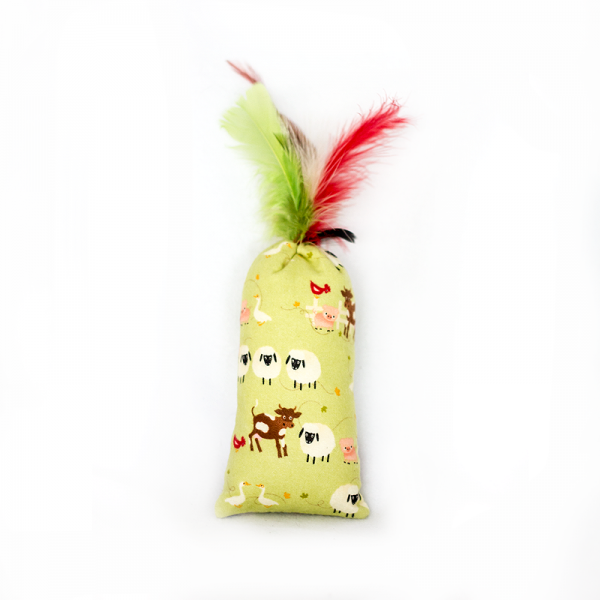 Neutral coloured feather bomb cat toy