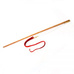 Lizard tail leather cat toy in red