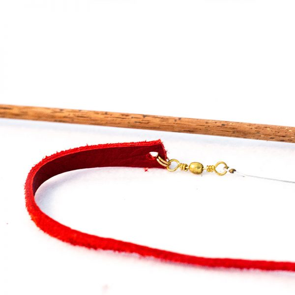Lizard tail red leather cat toy