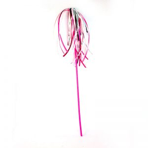Pink ribbon teaser wand for cats