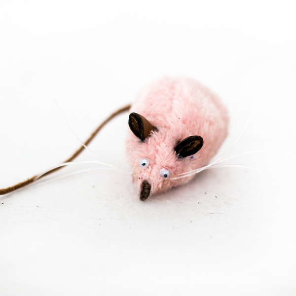 A baby pink mouse cat toy