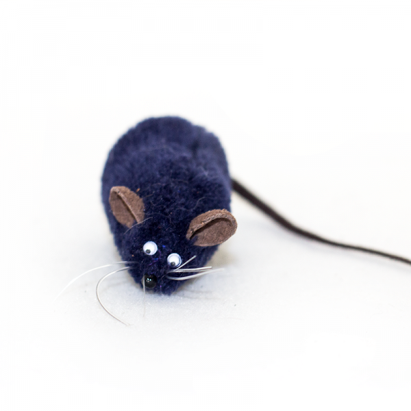 A dark blue stuffed The Mice toy from Feline Fun Factory
