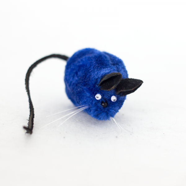 A blue The Mice toy from Feline Fun Factory