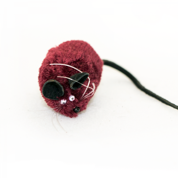 Maroon mouse cat toy