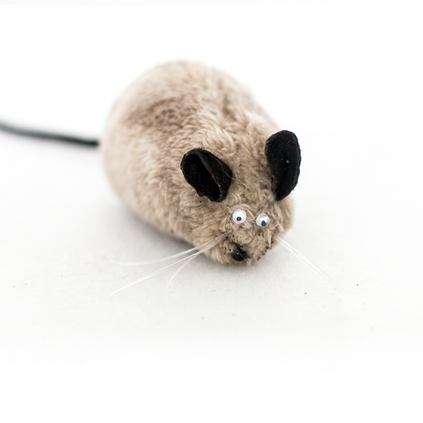 A beige stuffed mouse cat toy
