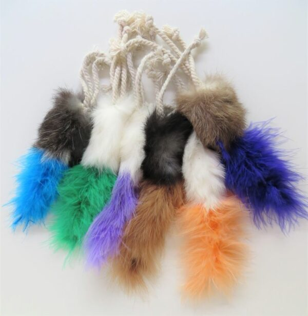 collection of fluffy coloured bobtail cat toys with strong legs